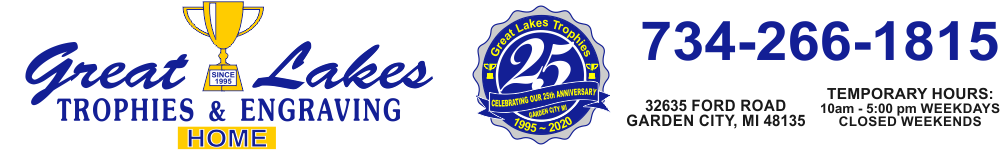 Great Lakes Trophies & Engraving - medallions, medals, award medals, trophy medals, trophy awards, award trophy